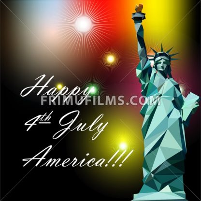 Fourth of july independence day card, with statue of liberty and fireworks. Digital vector image - frimufilms.com