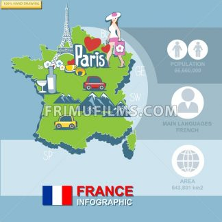 France, country infographic and statistical data with best sights, digital vector image - frimufilms.com