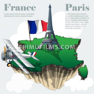 France country infographic map in 3d with country shape flying in the sky with clouds, big flag eiffel tower and a flying old airplane. Digital vector image - frimufilms.com