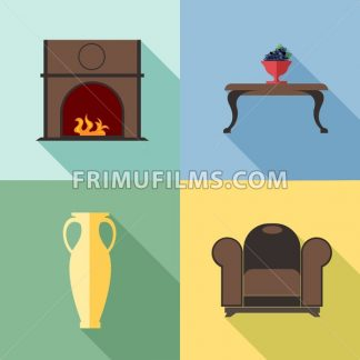 Furniture set with fireplace, in outlines. Digital vector image - frimufilms.com