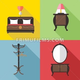 Furniture set with mirror, in outlines. Digital vector image - frimufilms.com