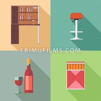 Furniture set with wine bottles and chair, in outlines. Digital vector image - frimufilms.com