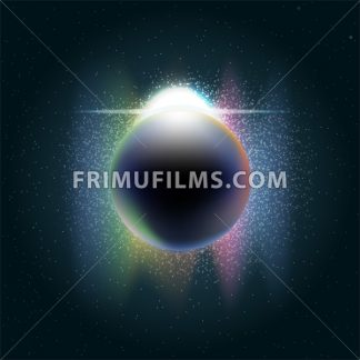 Futuristic planet earth in 3d in space full of stars, rising sun with colored light and sparkle. Digital vector image - frimufilms.com