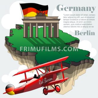 Germany country infographic map in 3d with country shape flying in the sky with clouds, big flag, brandenburg gate and a flying old red airplane. Digital vector image - frimufilms.com