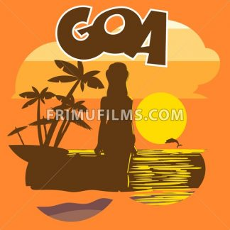Goa beach flyer with a woman silhouette, palms and a dolphin at sunset, digital vector image - frimufilms.com