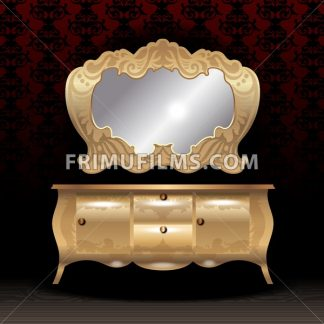 Golden royal mirror and desk, flat style over dark red background. Digital vector image - frimufilms.com