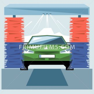 Green car wash at station with jet of water and red and blue cleaners, front view, digital vector image - frimufilms.com
