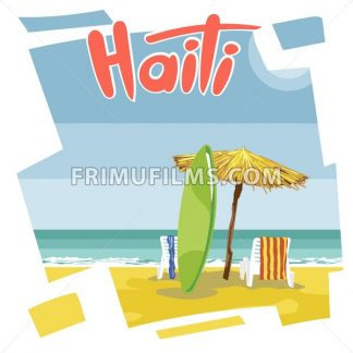 Haiti beach flyer with a green surfing board, an umbrella from hay and beach chairs with towels - frimufilms.com