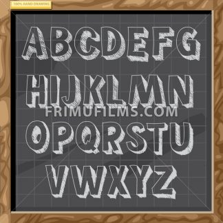 Hand drawn alphabet in white chalk style on a brown board with grid, capital letters with bevel, digital vector image - frimufilms.com