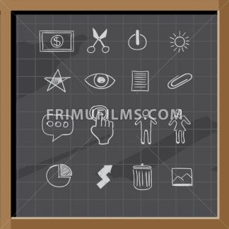 Hand drawn business signs on chalkboard - frimufilms.com