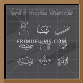 Hand drawn cafe menu board signs and food collection on chalkboard - frimufilms.com