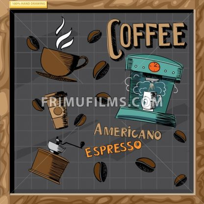 Hand drawn cafe menu board signs and food collection on chalkboard, digital vector image - frimufilms.com