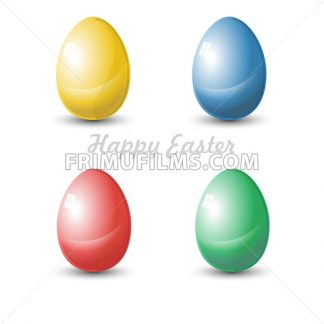 Happy Easter Card. Four isolated Plain Colored Easter Eggs. Digital background vector illustration. - frimufilms.com