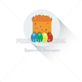 Happy Easter Russian Card. Easter Bread with Glaze, Sprinkles and Raisins. Plain Colored Easter Eggs. Easter Cake in Russia. Digital background vector flat illustration. - frimufilms.com