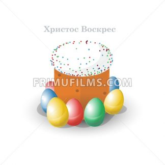Happy Easter Russian Card. Easter Bread with Glaze, Sprinkles and Raisins. Plain Colored Easter Eggs. Easter Cake in Russia. Digital background vector illustration. - frimufilms.com