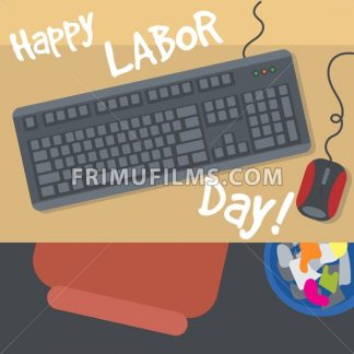 Happy Labor Day, with a table, keyboard, mouse and bin. View from top. Digital vector image - frimufilms.com
