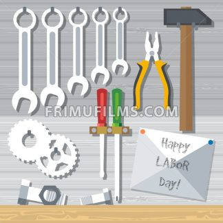 Happy Labor Day, with tools set. Digital vector image - frimufilms.com