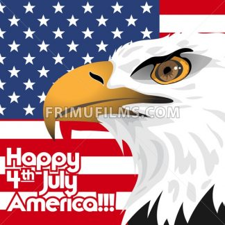 Happy fourth of july America, independence day card, with a big eagle and flag. Digital vector image - frimufilms.com