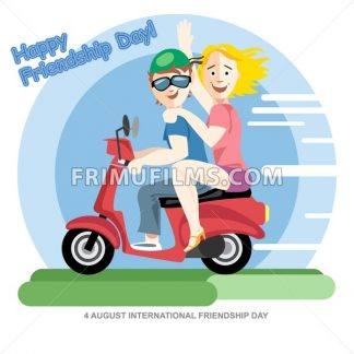 Happy friendship day card. 4 August. Best friends girls riding a red motorcycle. Digital vector image - frimufilms.com