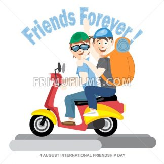 Happy friendship day card. 4 August. Best friends riding a red motorcycle. Digital vector image - frimufilms.com