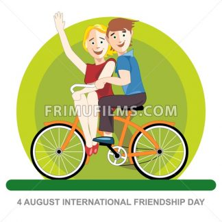 Happy friendship day card. 4 August. Best friends riding an orange bicycle. Digital vector image - frimufilms.com