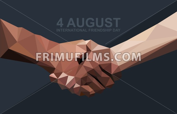 Happy Friendship Day Card 4 August Best Friends Two Shaking Hands Symbol Digital Vector Image Frimufilms