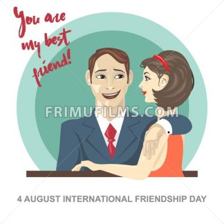 Happy friendship day card. 4 August. Best friends woman and man embracing. Digital vector image - frimufilms.com