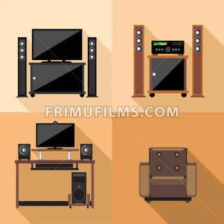 Home tv decoration set, flat style. Digital vector image - frimufilms.com