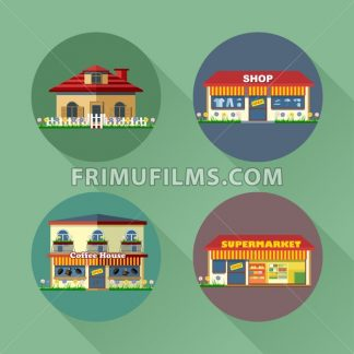 Houses and buildings set flat style. Living, shop, supermarket, coffee. Digital vector image - frimufilms.com