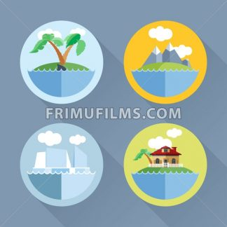 Islands set flat style. Palm tree, ship, mountains, house. Digital vector image - frimufilms.com