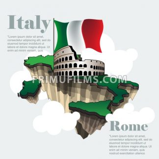 Italy country infographic map in 3d with country shape flying in the sky with clouds, big flag and the colosseum. Digital vector image - frimufilms.com
