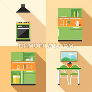 Kitchen home decoration set, flat style. Digital vector image - frimufilms.com