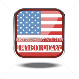 Labor day card with the flag of unites states of america in a silver square. Digital vector image - frimufilms.com