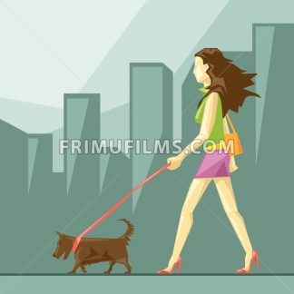 Lady in green and pink clothes and red shoes with brown dog walking on the street, on a blue sliced background with trees, in big pixel style with orange purse, digital vector image - frimufilms.com