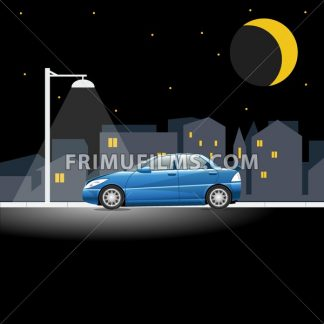 Lonely blue colored car on an empty night street. Lamppost shining in the night above a vehicle on a city street. Digital vector illustration. - frimufilms.com