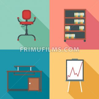 Modern office rurniture set, in outlines. Digital vector image - frimufilms.com