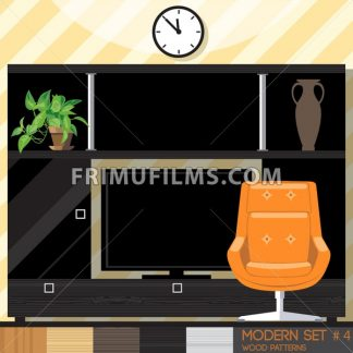 Modern style interior set, flat style. Digital vector image - frimufilms.com