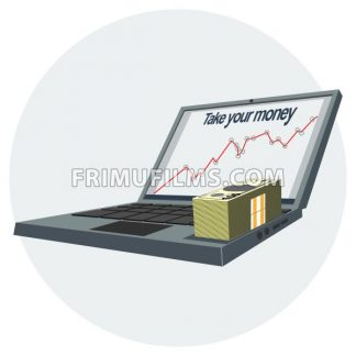 Notebook pc icon with growing success chart on the screen and money. Digital vector image. - frimufilms.com