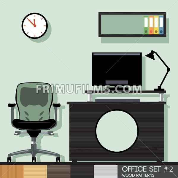 Office style interior set. Digital vector image - frimufilms.com