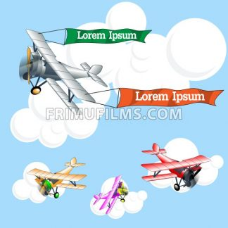 Old airplane model with ribbons flying in the sky with clouds, silver, pink, red and orange set collection over blue background. Digital vector image. - frimufilms.com