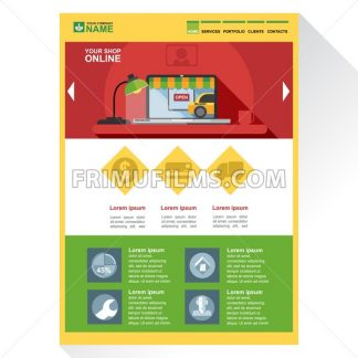 Online shop company web site theme layout. Digital background vector illustration. - frimufilms.com