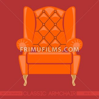 Orange classic armchair over red background. Digital vector image - frimufilms.com