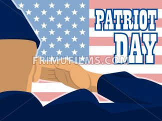 Patriot day card with the flag of unites states of america and a military soldier with hand gesture saluting. Digital vector image - frimufilms.com
