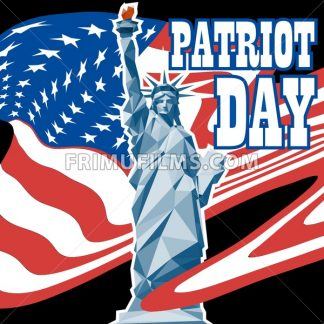 Patriot day card with the flag of unites states of america and statue of liberty. Digital vector image - frimufilms.com