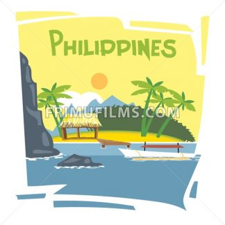 Philippines flyer with the beach and palm trees - frimufilms.com