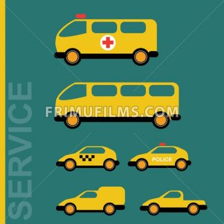 Public service cars. Ambulance, school bus, taxi, police, hauler. Car transporter. Various automobiles. Isolated objects on green backdrop. Vector digital illustration. - frimufilms.com