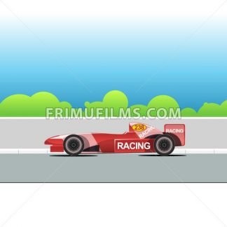 Racing bolide car on a racing track. Red single-seat auto racing. Racing track with green trees. Digital vector illustration. - frimufilms.com