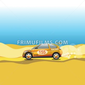 Rally in a desert. Racing car safari trip. Sport car driving on a sandy road. Blue sky and yellow sand. Digital vector illustration. - frimufilms.com