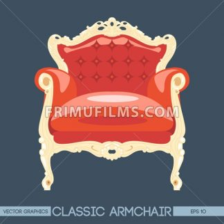 Red and yellow classic armchair over dark background. Digital vector image - frimufilms.com