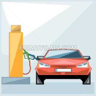 Red car at fuel station over blue background, front view, digital vector image - frimufilms.com